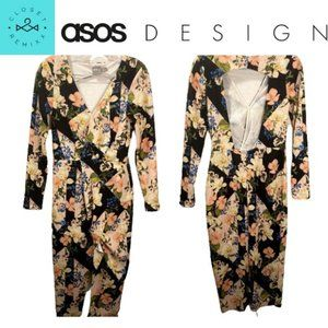ASOS DESIGN Wrap Origami Column Midi Dress 6